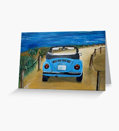 Blue VW bug at beach Greeting Card
