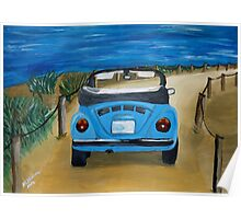 Blue VW bug at beach Poster