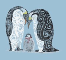 Swirly Penguin Family Kids Tee