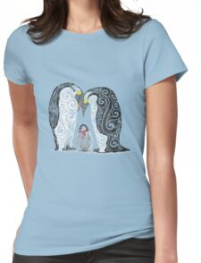 Swirly Penguin Family Womens Fitted T-Shirt