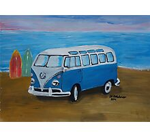 The Vw blue Volkswagen Bulli surfbus  Photographic Print