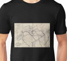 0038 Railroad Maps Map of the railroads canals connecting the coal estate of the Broad Mountain Improvement Co with the Atlantic Unisex T-Shirt