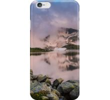 Hut in high mountain at sunset iPhone Case/Skin