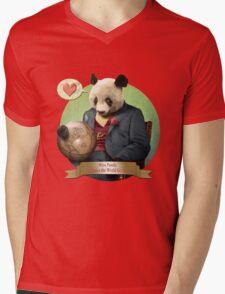 Wise Panda: Love Makes the World Go Around! Mens V-Neck T-Shirt