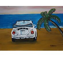 The White Volkswagen Bug At The Beach Photographic Print