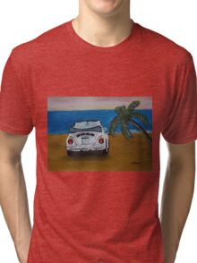The White Volkswagen Bug At The Beach Tri-blend T-Shirt