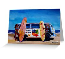 Surf Bus Series - The Lady Flower Power VW Bus Greeting Card