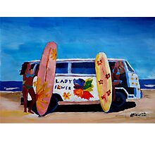 Surf Bus Series - The Lady Flower Power VW Bus Photographic Print