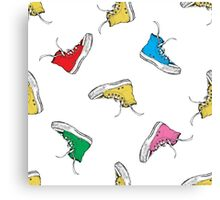 Colorful Seamless Pattern with Vintage Sneakers Canvas Print