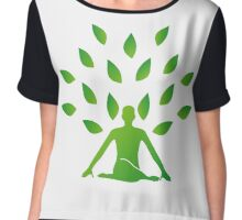 Person meditating under a tree  Chiffon Top
