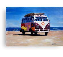 Surf Bus Series - The Groovy Peace VW Bus Canvas Print