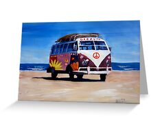 Surf Bus Series - The Groovy Peace VW Bus Greeting Card