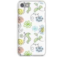 floral hand drawn doodle design. iPhone Case/Skin