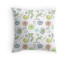 floral hand drawn doodle design. Throw Pillow