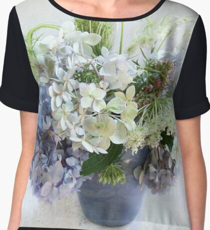 Summer Bouquet in Blue and White Women's Chiffon Top