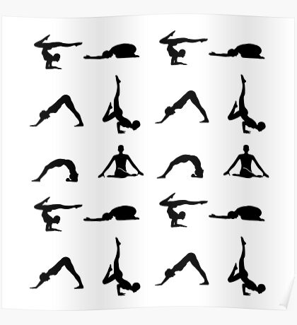 Yoga poses silhouette  Poster
