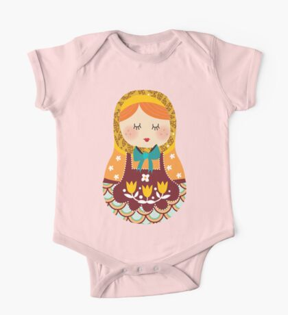 russian doll - yellow One Piece - Short Sleeve