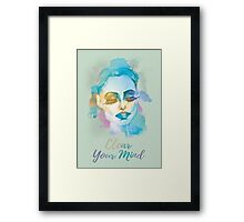 Clear your mind! Hand-painted portrait of a woman in watercolor. Framed Print