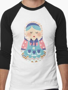 russian doll - purple Men's Baseball ¾ T-Shirt