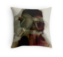 Gas Mask Woman Throw Pillow