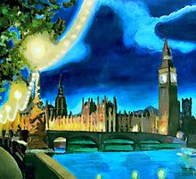 Houses of Parliament and Big Ben at Night by artshop77