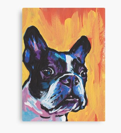 Boston Terrier Bright colorful pop dog art Canvas Print