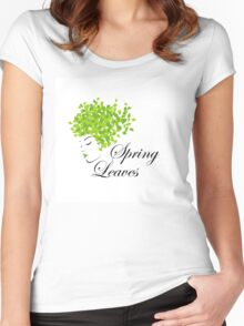 Mother nature with spring leaves as hair  Women's Fitted Scoop T-Shirt