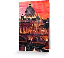Eternal City - Rome, St Peter at Dusk Greeting Card