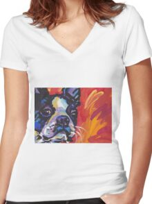 Boston Terrier Bright colorful pop dog art Women's Fitted V-Neck T-Shirt