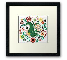 Russian FOLK  Green Squirrel. Framed Print