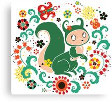Russian FOLK  Green Squirrel. Canvas Print