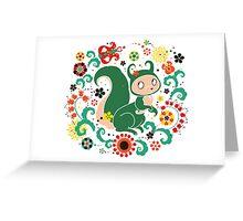 Russian FOLK  Green Squirrel. Greeting Card