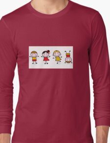 Stitch figures isolated on white Long Sleeve T-Shirt