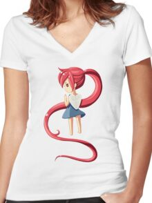 Ponytail Women's Fitted V-Neck T-Shirt