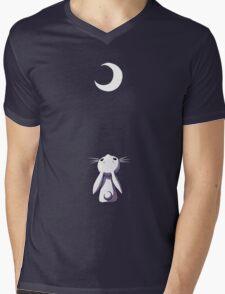 Moon Bunny Mens V-Neck T-Shirt