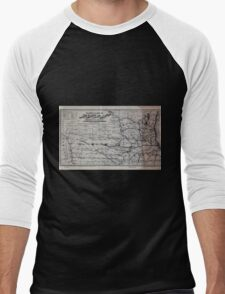 0266 Railroad Maps Map showing the location of the Galena Chicago Union Railroad with its branches connections in Illinois Wisconsin Iowa and Men's Baseball ¾ T-Shirt