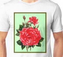 RED ROSES; Vintage Flower Art Print Unisex T-Shirt