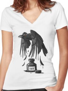 Ink Raven Women's Fitted V-Neck T-Shirt