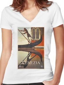 Vintage Venice Italy travel advert, gondola Women's Fitted V-Neck T-Shirt