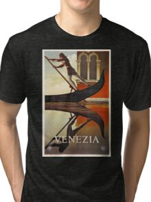 Vintage Venice Italy travel advert, gondola Tri-blend T-Shirt