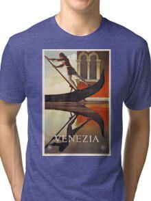 Vintage Venice Italy travel advert, gondola Tri-blend T-Shirt