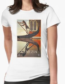 Vintage Venice Italy travel advert, gondola Womens Fitted T-Shirt
