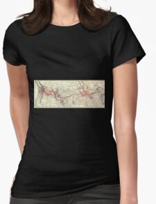 0335 Railroad Maps Northern Pacific Railway Womens Fitted T-Shirt