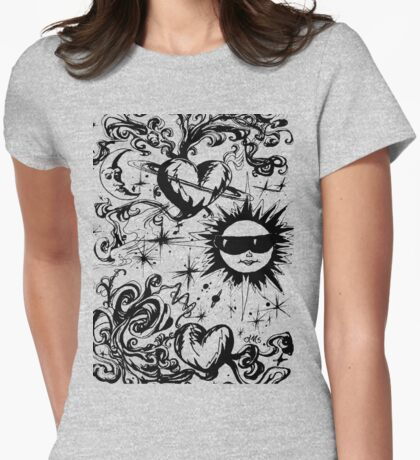 sun moon and stars Womens Fitted T-Shirt