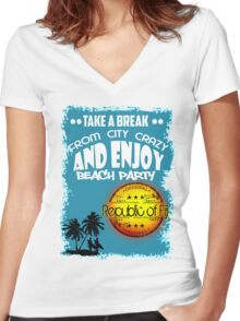 Republic Of Fiji Beach Day Women's Fitted V-Neck T-Shirt