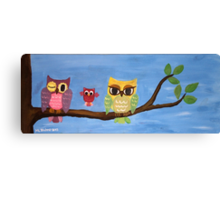 owl family on a tree  Canvas Print