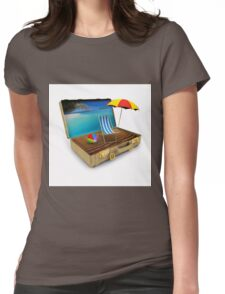 Beach Suitcase  Womens Fitted T-Shirt