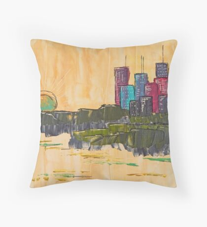 Cityscape by Day Throw Pillow