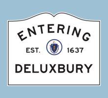 Entering DELUXBURY Duxbury - Commonwealth of Massachusetts Road Sign Kids Tee