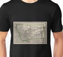 0138 Railroad Maps Indexed county map of Montana with a new and original compilation and index designating all post office towns and railroad Unisex T-Shirt